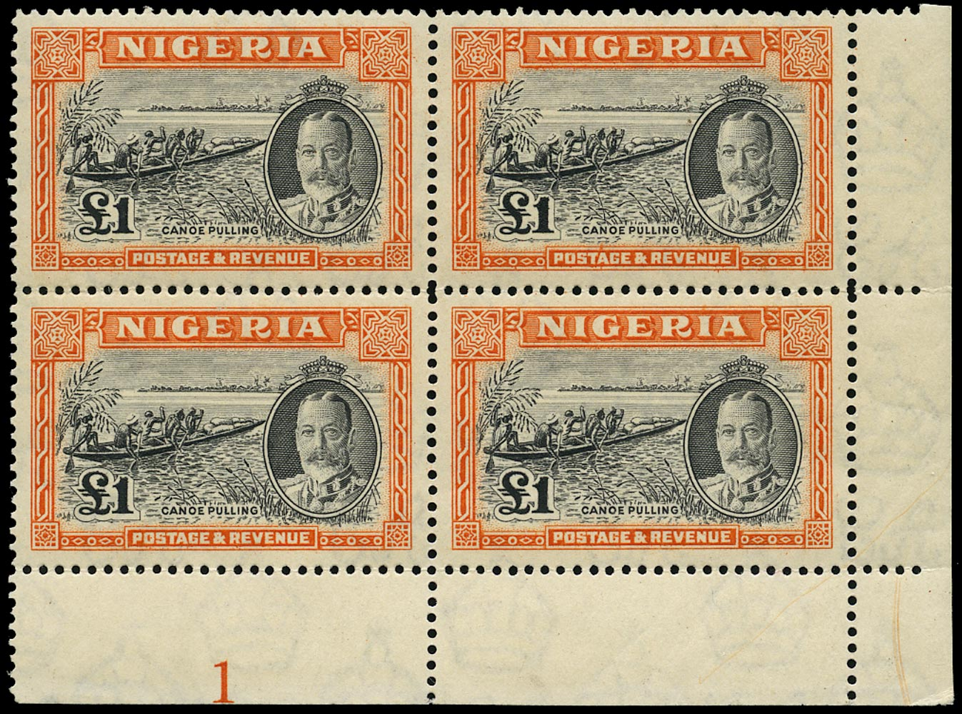 NIGERIA 1936  SG45 Mint £1 black and orange plate block of 4