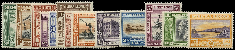SIERRA LEONE 1933  SG168/80 Mint Wilberforce set of 13 to £1
