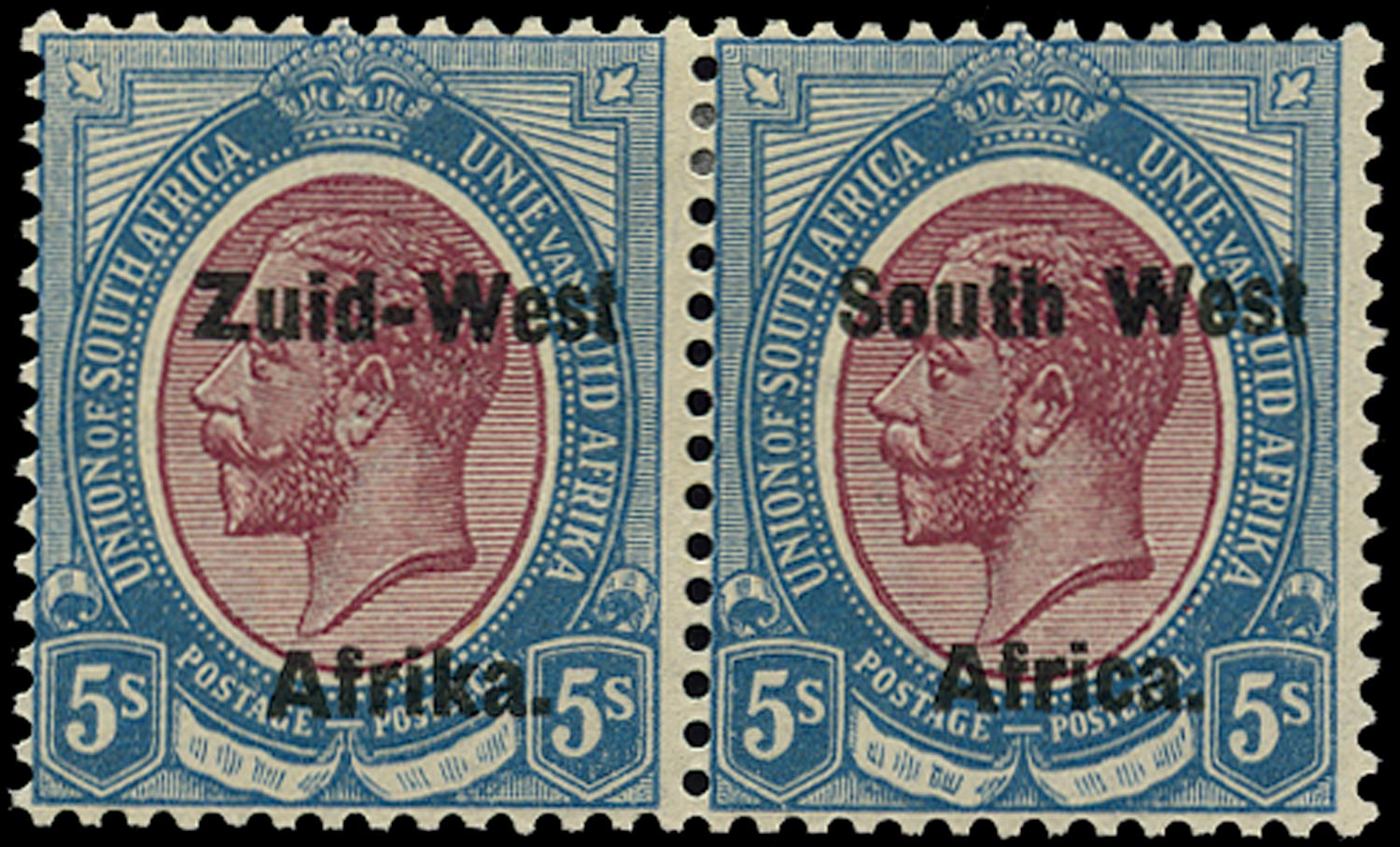 SOUTH WEST AFRICA 1923  SG13 Mint 5s purple and blue overprint setting II