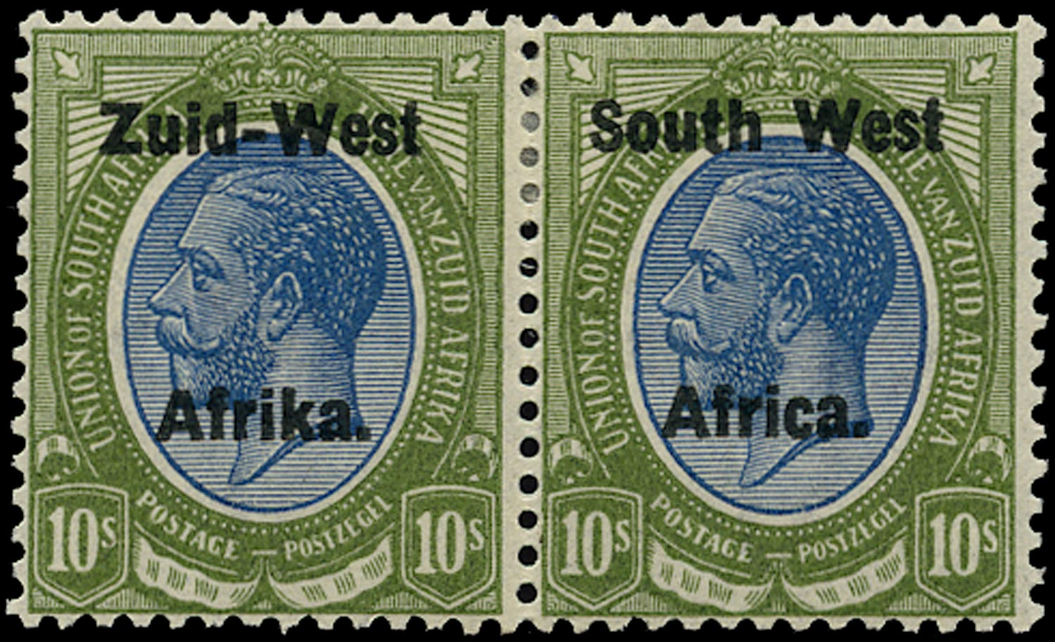 SOUTH WEST AFRICA 1923  SG14 Mint 10s blue and olive-green overprint setting II