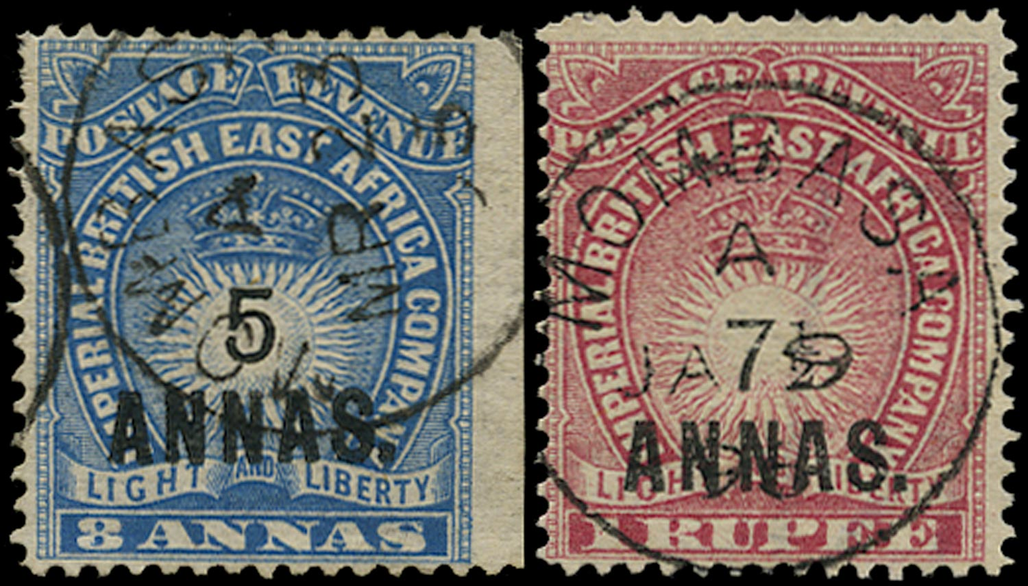 BRITISH EAST AFRICA 1894  SG27/28 Used 5a on 8a blue and 7½a on 1r carmine