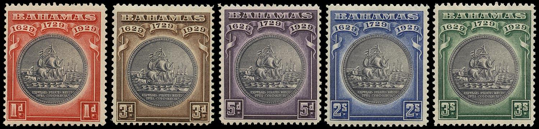 BAHAMAS 1930  SG126/30 Mint Tercentenary set of 5 to 3s