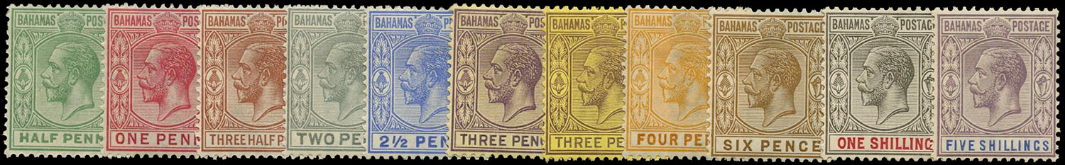 BAHAMAS 1921  SG115/24 Mint KGV short set to 5s Script watermark