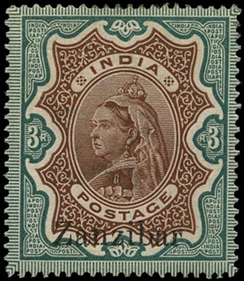 ZANZIBAR 1895  SG20z Mint 3r brown and green overprint at foot