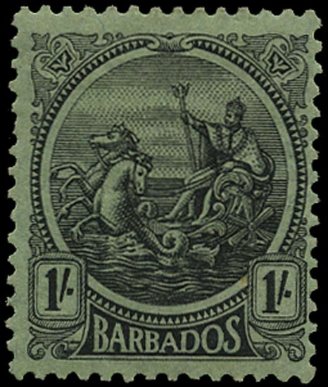 BARBADOS 1921  SG215x Mint 1s black on emerald watermark MCA variety Watermark Reversed