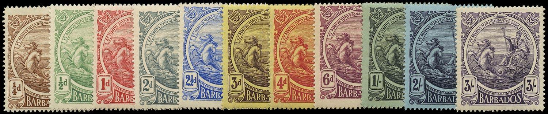 BARBADOS 1916  SG181/91 Mint Seahorses set of 11 to 3s watermark MCA