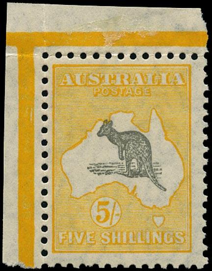AUSTRALIA 1929  SG111 Mint unmounted Kangaroo 5s grey and yellow small multiple watermark