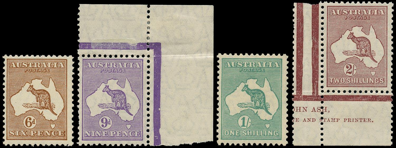 AUSTRALIA 1929  SG107/10 Mint Kangaroo short set of 4 to 2s small multiple watermark