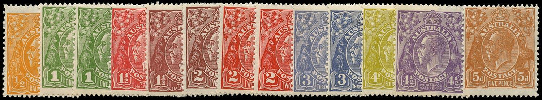AUSTRALIA 1926  SG94/103a Mint KGV short set to 5d small multiple wmk perf 13½x12½