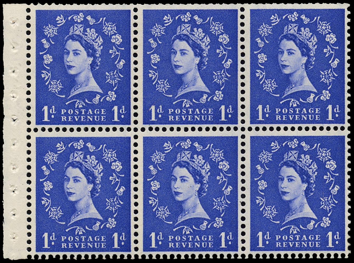 GB 1958  SG588lWi Booklet pane rose flaw variety