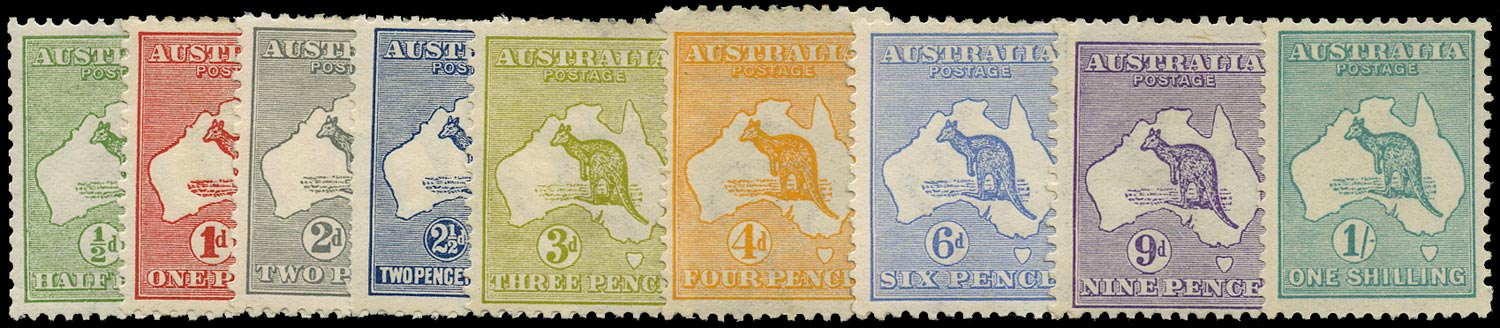 AUSTRALIA 1913  SG1/11a btwn Mint Kangaroo first watermark short set to 1s less 5d