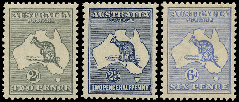 AUSTRALIA 1915  SG24/6 Mint Kangaroo second watermark 2d, 2½d, 6d
