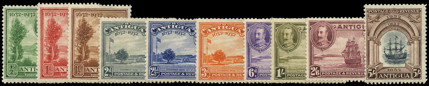 ANTIGUA 1932  SG81/90 Mint Tercentenary set of 12 to 5s