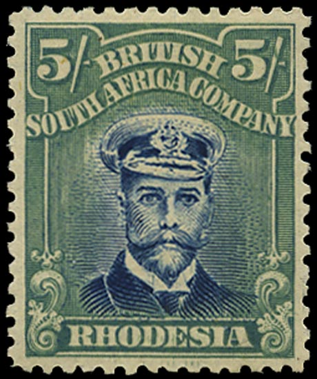 RHODESIA 1913  SG275 Mint Admiral 5s deep blue and blue-green head die IIIB perf 14