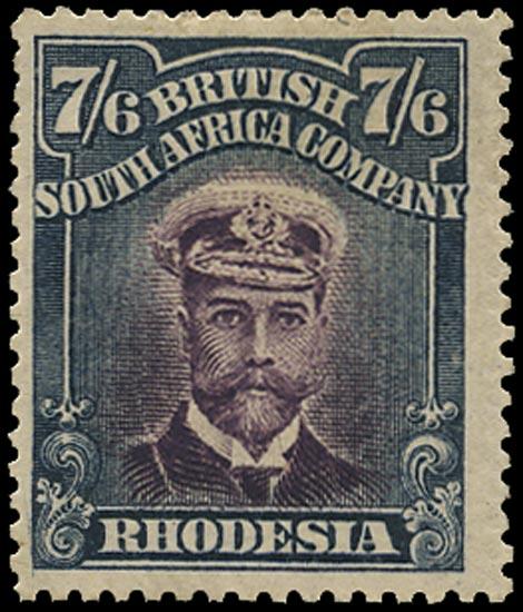 RHODESIA 1913  SG252 Mint Admiral 7s6d head die II perf 15