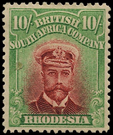 RHODESIA 1913  SG241 Mint Admiral 10s head die II perf 14