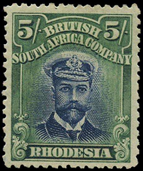 RHODESIA 1913  SG239 Mint Admiral 5s head die II perf 14