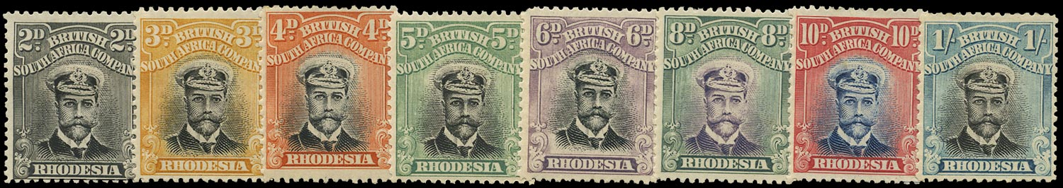 RHODESIA 1913  SG219/33 Mint Admiral short set of 8 to 1s head die II perf 14