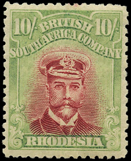 RHODESIA 1922  SG309 Mint Admiral 10s white paper head die IIIB perf 14