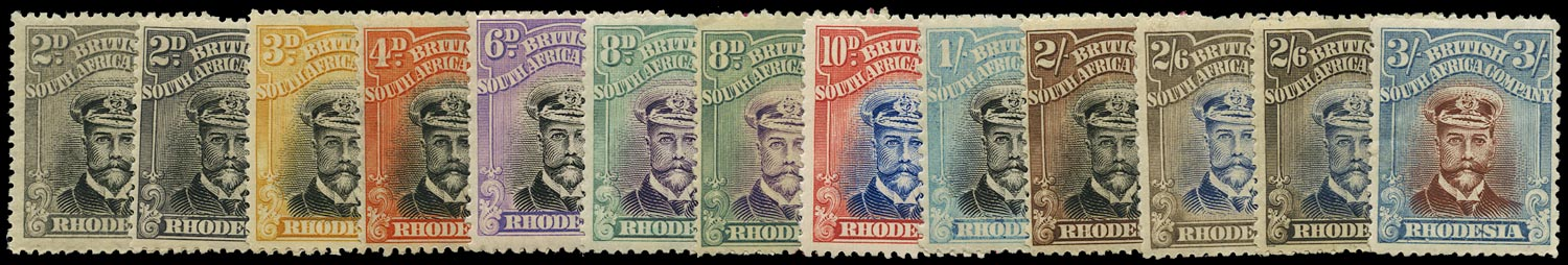 RHODESIA 1922  SG291/304 Mint Admiral white paper head die IIIB perf 14 set to 3s