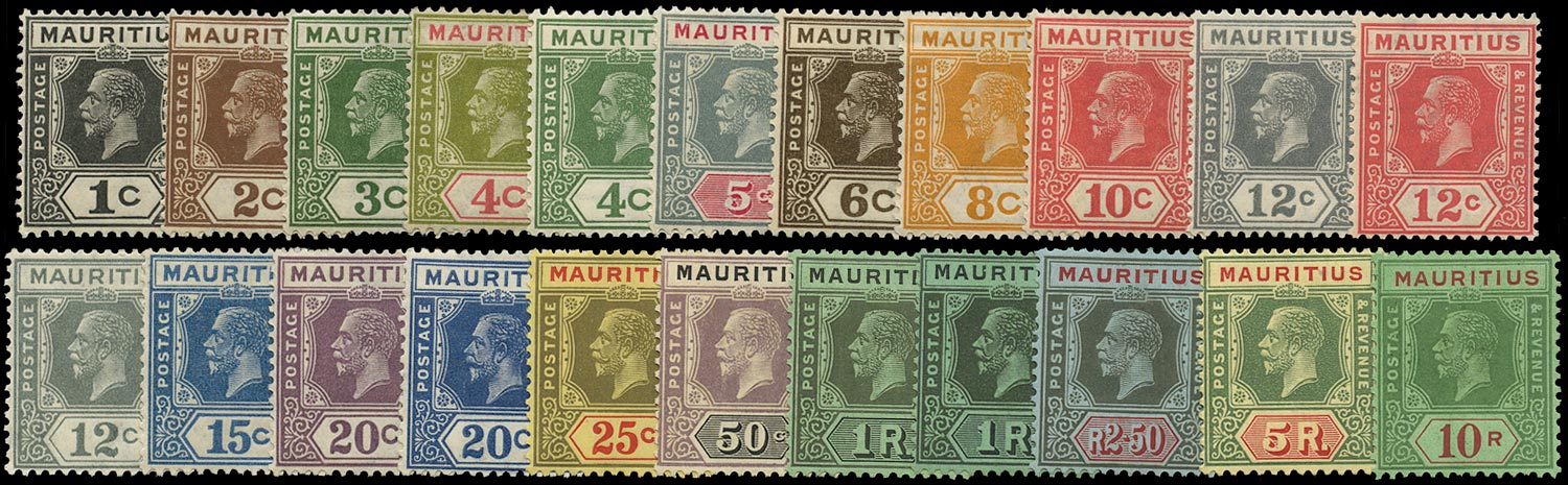 MAURITIUS 1921  SG223/41 Mint Script watermark set to 10r including 12c Type B