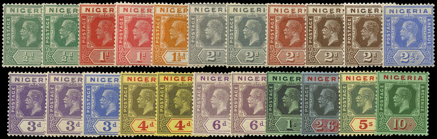 NIGERIA 1921  SG15/29 Mint KGV set to 10s Script watermark