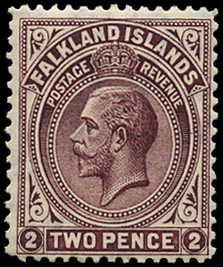 FALKLAND ISLANDS 1912  SG62a Mint 2d deep reddish purple line perf 14
