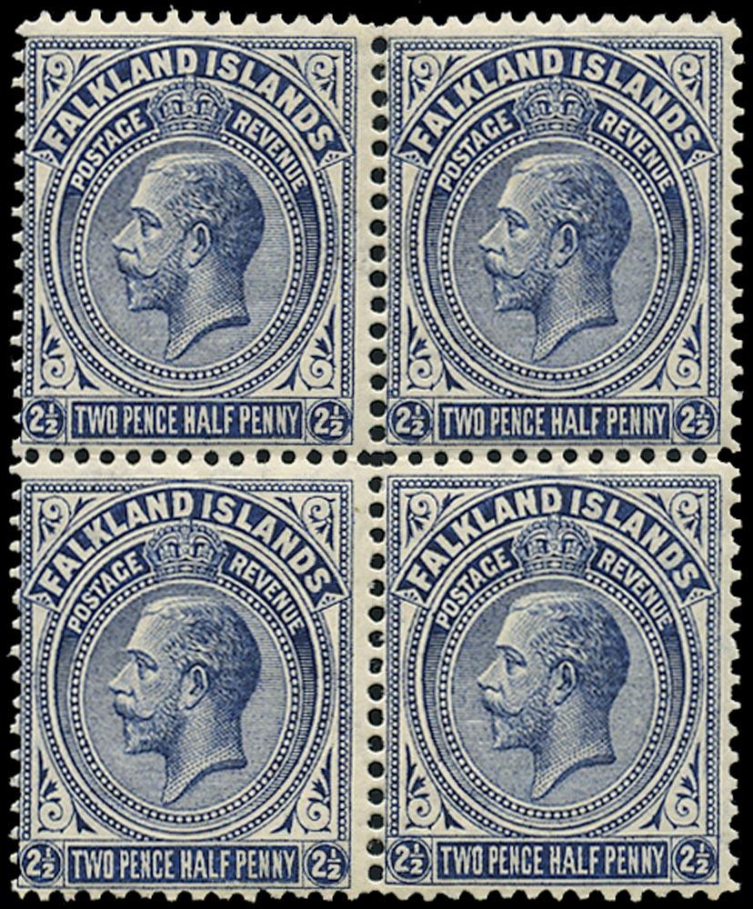 FALKLAND ISLANDS 1912  SG63b Mint 2½d deep blue line perf 14