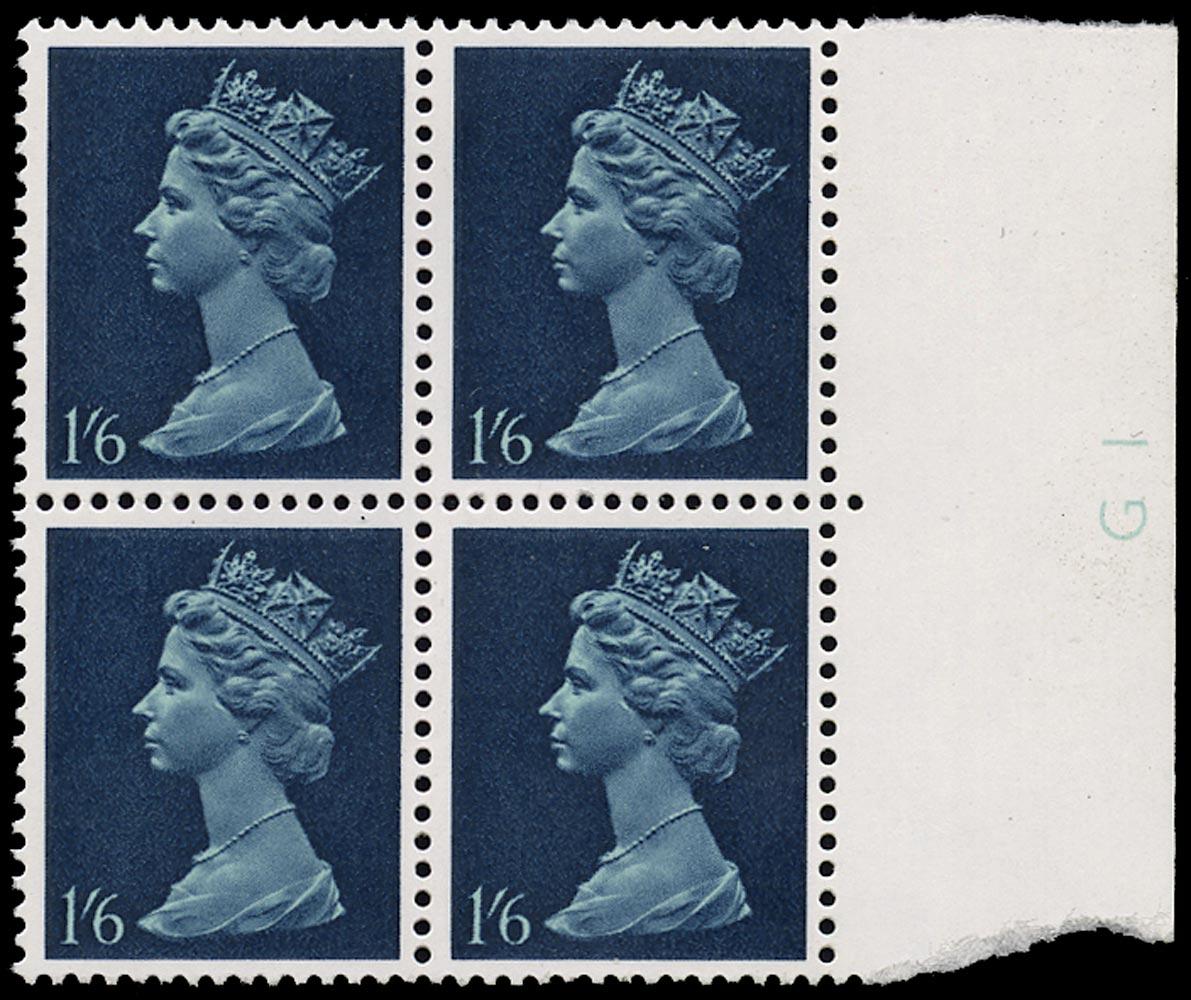 GB 1968  SG743va var Mint phosphor omitted block