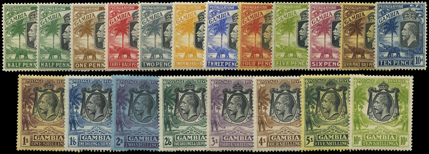 GAMBIA 1922  SG122/42 Mint Script watermark set of 20 to 10s