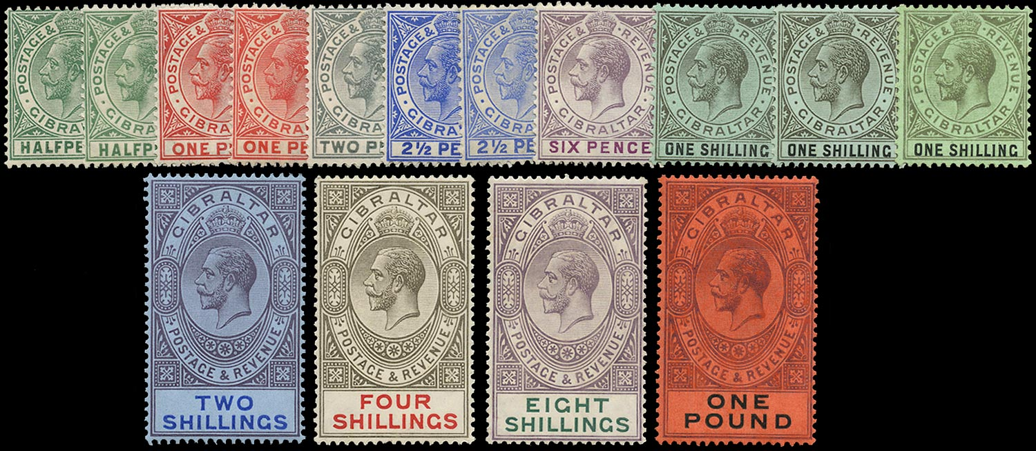 GIBRALTAR 1912  SG76/85 Mint watermark MCA set of 15 to £1 including listed shades