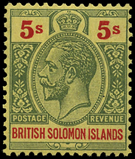 SOLOMON ISLANDS 1914  SG36a Mint 5s red and green on orange-buff