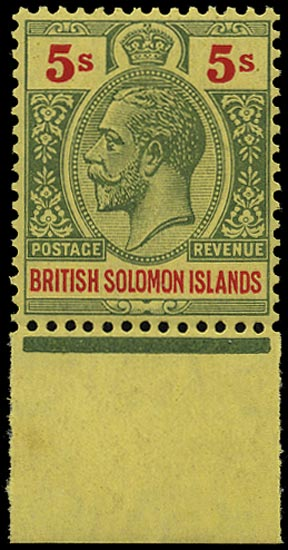 SOLOMON ISLANDS 1914  SG36a Mint unmounted 5s red and green on orange-buff