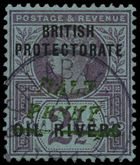 NIGER COAST 1893  SG35 Used ½d on 2½d type 10 surcharge in green