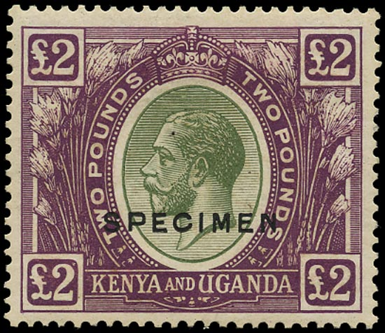 KUT 1922  SG96s Specimen KGV £2 green and purple
