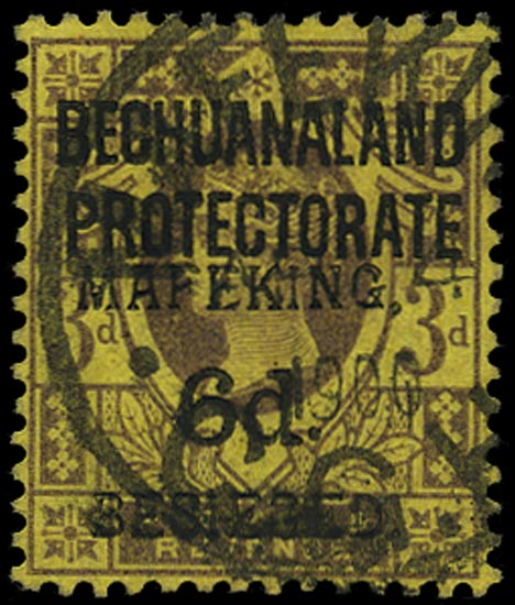 C.G.H. - MAFEKING 1900  SG9 Used 6d on 3d purple on yellow British Bechuanaland