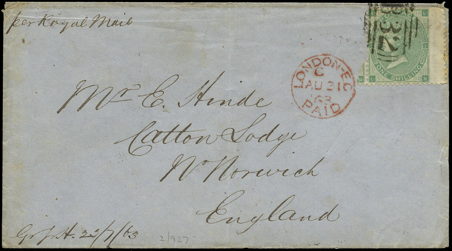 GB 1863  SG72 Pl.2 Cover - Used abroad in Buenos Aires, Argentina