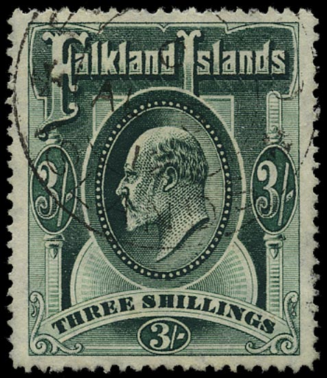 FALKLAND ISLANDS 1904  SG49b Used KEVII 3s deep green