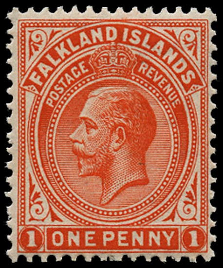FALKLAND ISLANDS 1912  SG61dx Mint 1d orange-vermilion variety watermark reversed