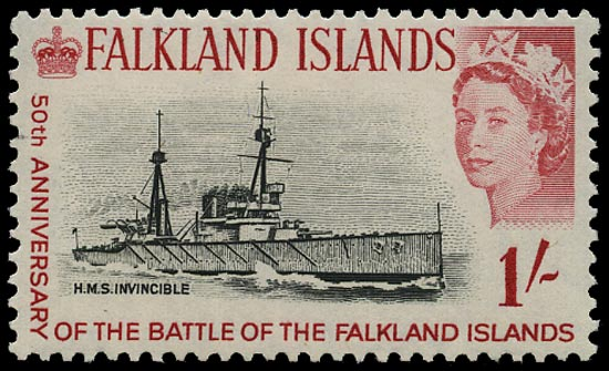 FALKLAND ISLANDS 1964  SG217w Mint unmounted Battle of the Falklands 1s H.M.S. Invincible variety watermark inverted
