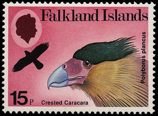 FALKLAND ISLANDS 1980  SG386w Mint unmounted Birds of Prey 15p Common Caracara variety watermark Crown to left of CA