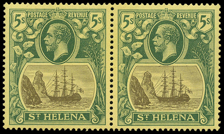 ST HELENA 1922  SG95b Mint 5s watermark MCA variety Torn Flag