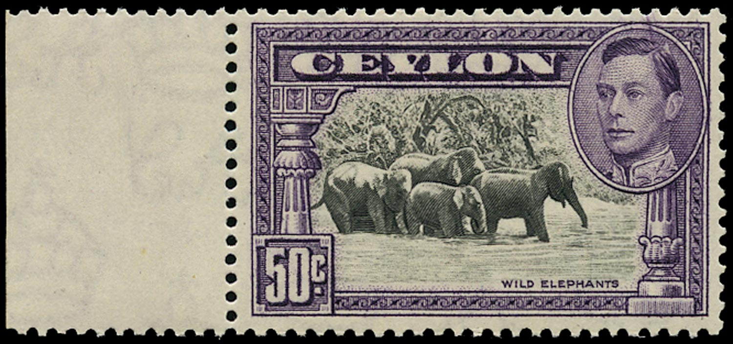 CEYLON 1938  SG394a Mint unmounted 50c black and mauve perf 13x13½