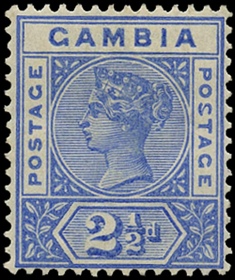 GAMBIA 1898  SG40a Mint 2½d ultramarine variety Malformed S