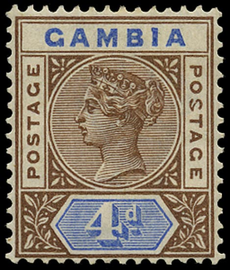GAMBIA 1898  SG42a Mint 4d brown and blue variety Malformed S