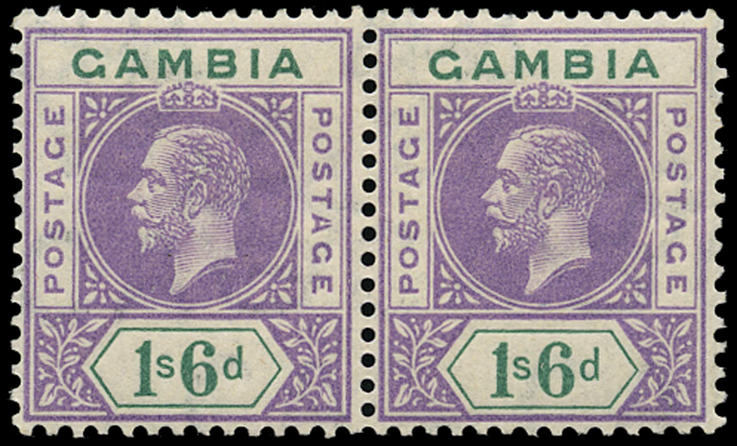GAMBIA 1898  SG98a Mint 1s6d watermark MCA variety Split A