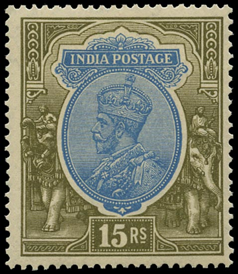 INDIA 1926  SG218 Mint unmounted 15r blue and olive watermark multiple stars upright