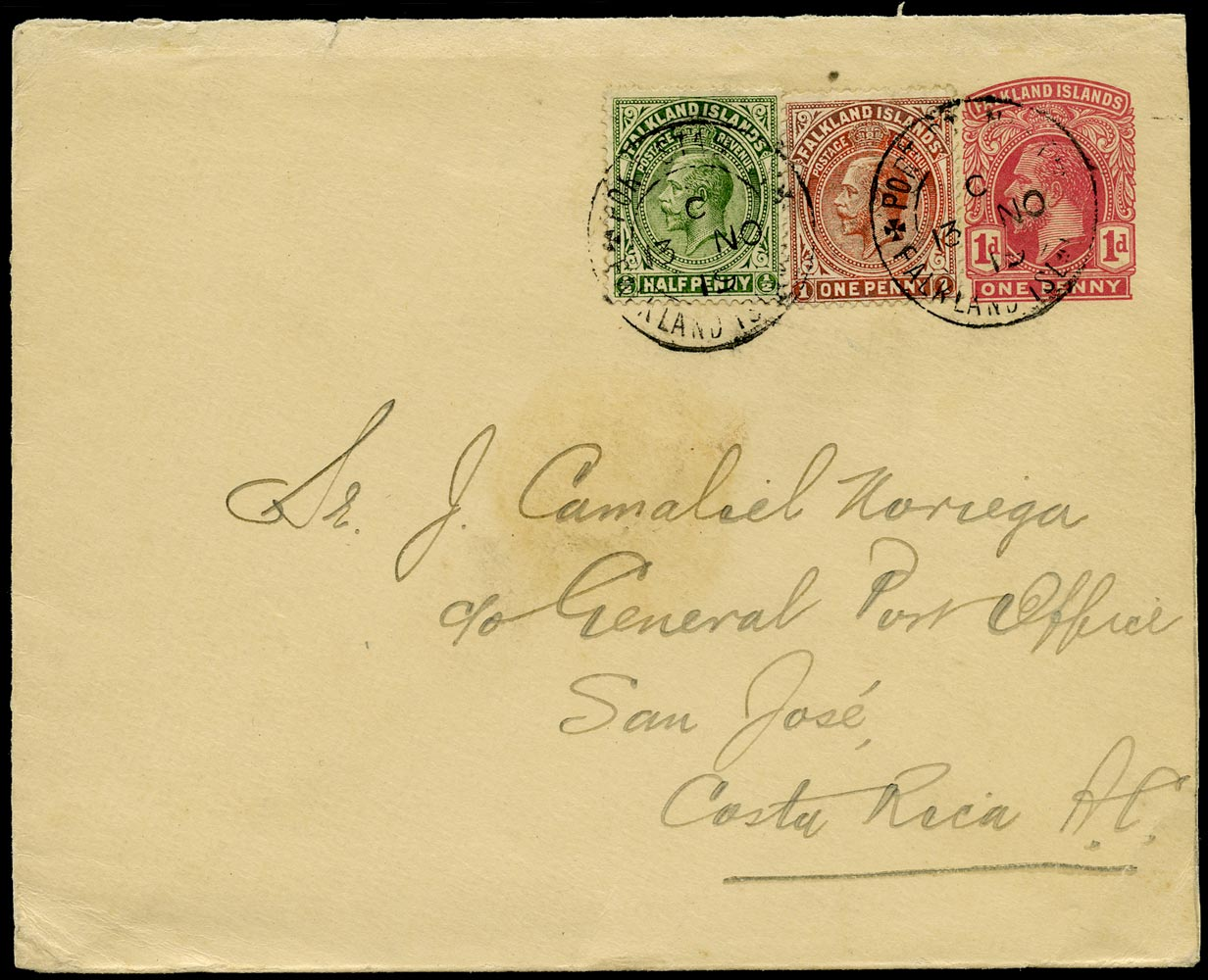 FALKLAND ISLANDS 1919  SG60c, 61c Cover KGV 1d postal stationery envelope used to Costa Rica
