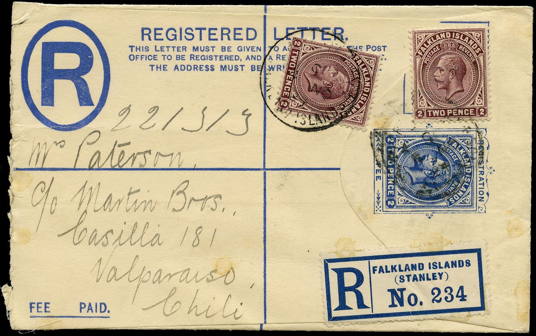 FALKLAND ISLANDS 1924  SG75 Cover KGV 2d registered postal stationery envelope used to Chile