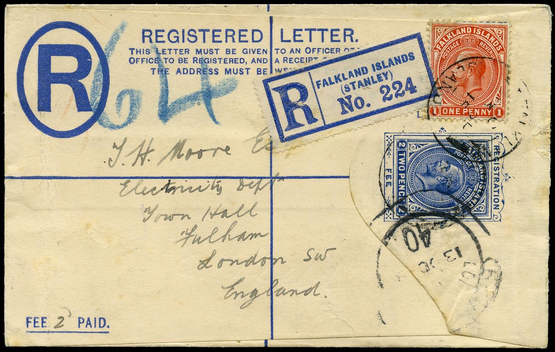 FALKLAND ISLANDS 1915  SG61 Cover KGV 2d registered postal stationery envelope used to England